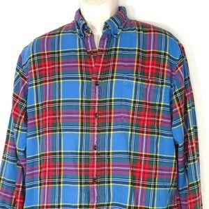 Lands End Flannel Plaid Shirt Men Size L 16 16.5